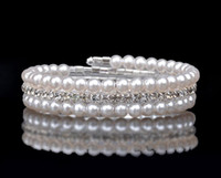 Wholesale Cheaper Diamond Ring - Cheaper Bridal Accessories Fashion multilayer pearl diamond bracelet wide The bride intertwined spiral bracelets Bridal Jewelry bracelets