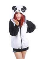 Wholesale Women Fleece Hooded Long Cardigan - HappyBuy Cute Panda Adult Unisex Costumes Side Pockets Hoodie Zip Closure Animal Costume Hooded jacket Kigurumi Cardigan Hoodies