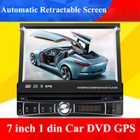 Wholesale View Free Tv - universal 1 single Din 7 inch Car DVD player with GPS, audio Radio stereo,USB SD,BT,free map,rear view camera,Automatic retractable screen