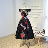 Wholesale High Neck Beaded Design - New Design Boat Neck Tea-length Evening Dresses 2017 new Appliques Stain Formal Prom Gowns Bestido de festa Black Evening Gown