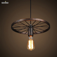 Wholesale Iron Like - Industrial Style Pendant Light with Black Iron Wheel-Like Retro Ceiling Lamp For Indoor Decors