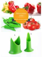 tomatenkerne großhandel-Chili Tomaten Corers Obst Gemüse Corer Nordic kreative Küche Gadgets haben 2 Arten Größe 2pcs / set