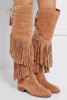fransen wildleder großhandel-2017 neueste Wildleder Fransen Über das Knie Mode Zurück Lace-up Low Heel Stiefel Frau Reitstiefel Hohe Qualität Stiefel