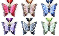 Wholesale Retro Butterfly Necklace - Retro Crystal Butterfly Pendant Necklaces Lace Ribbon Rope Long Chain Necklaces 6 Colors Butterfly Women Girls Vintage Statement Jewelry