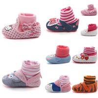 Wholesale Girl Baby Socks Shoes Prewalker - Toddler Baby Boys Girls Autumn Winter Socks Cartoon Lace Bow First Walkers Animal Shoes Stripe Printed Floral Prewalker
