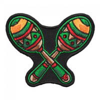 Wholesale Maracas Instrument - Cute Mama Yo Quiero Maracas Patch, Musical Instruments Embroidered Iron On Patches 3*2.5 INCH Free Shipping