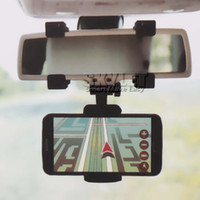 espejo de montaje universal al por mayor-Para el soporte del coche del soporte del coche de Iphone 7 sostenedor del espejo retrovisor universal soporte del sostenedor del teléfono celular soporte de la cuna soporte del carro del carro con el paquete al por menor