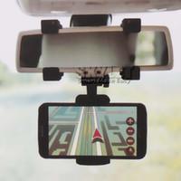 support de téléphone à montage miroir achat en gros de-Pour Iphone 7 Support de voiture Support de voiture Universal Rearview Mirror Holder Support de téléphone portable GPS Support Cradle Auto Truck Mirror avec Emballage au détail