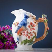 decoração de casamento pêssego venda por atacado-Azul Phoenix Peach Vaso De Cerâmica Decorativa Vaso Para Casa Jardim Novo Vaso Criativo Home Decor Presente de Casamento