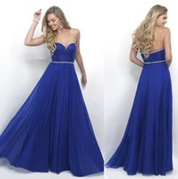 Wholesale Sapphire Blue Ivory - 2017 Sweetheart Prom Dresses A Line Floor Length Beading Appliques Sleeveless Sapphire Bule 2016 Luxury Evening Gowns