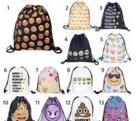 Wholesale Bags For Teen Girls - 8''X13.75'' Gym Emoji Sack Bag Drawstring Backpack Sport Bag for Men & Women School Travel Backpack for Teens College Girls