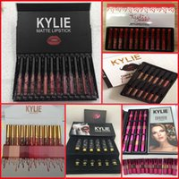 Wholesale Moustache Lips - Kylie Lipgloss Kylie Valentine Collection Birthday Matte Lip Gloss Liquid Lipstick Charm Moisturizing Moustache Bow Tie Lip Kit