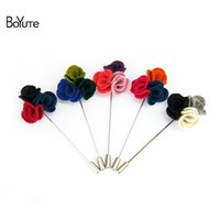 Wholesale Wholesale Men Suit Fabrics - BoYuTe 10Pcs 15 Colors Handmade Fabric Flower Brooch Wholesale Fashion Men Wedding Lapel Pin for Suit Jewelry Christmas Ornament