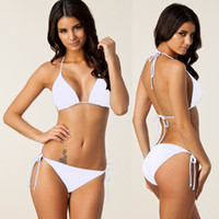 Wholesale High Quality New Bras - New Arrival Lady Sexy Padded Bra Bikini 2 Pieces Women Summer Solid Elastic High Quality Backless Bathing Suits 7 Colors