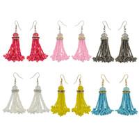 ingrosso acrylic chain beads-idealway 6 colori Placcato oro Boho Style Perline in acrilico lucido con catena pendente a forma di nappa