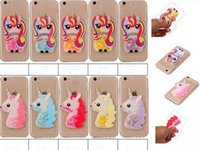 Wholesale Case For Touch5 - Rainbow Horse Liquid Unicorn Horse solf TPU Glitter Quicksand Skin case for iPhone 7 7Plus 6 6s 6Plus 5 5s SE Touch5 Touch6