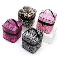 Wholesale Large Cosmetic Cases Wholesale - Letter Pink Cosmetic Bags Cases Fashion Women Organizer Makeup Bags VS Secret Top Large Capacity Leopard Handbags Bags 4Colors PX-B30