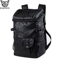 Wholesale Waxed Backpack - Wholesale- BAIJIAWEI Oil Wax PU Leather Man Backpack Brand Travel Bag Business Laptop Men Bag Casual Large Men Shoulder Duffel Bags