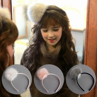 Wholesale Wholesale Hair Barrettes Balls - 2017 Girls Faux Fur Ball Hairbands Cute Baby Girl Big Ball Hair Sticks Children Hair Bands Princess Party Hair Accessories 10 pcs lot