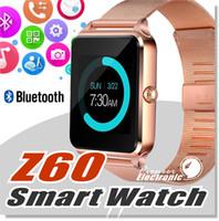 tracker cartes sim achat en gros de-Bluetooth Smart Watch Téléphone Z60 En Acier Inoxydable Soutien SIM TF Carte Caméra Fitness Tracker GT08 GT09 DZ09 A1 V8 Smartwatch pour IOS Android