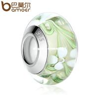perlas de cristal de murano joyas al por mayor-BAMOER Plateado Flor Blanca Verde Verde Murano Glass Beads fit Pulseras Mujeres Joyería de Moda Dropship PA6372