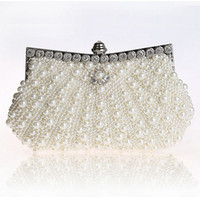 Wholesale pearls purses clutches - Hot Luxury Two Sided Pearl Womens Evening Party Clutch Bag Chain Purse Wedding Party Bridal Bags Vintage Hobos Handbags Fashion