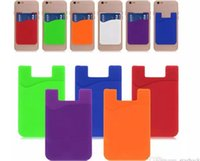 Wholesale Thin Wallet Id - Ultra-thin Self Adhesive 3M Sticky ID Credit Card Wallet Card Set Pouch Pocket Bag Holder Case for Smartphones iPhone 7 Colorful Silicone