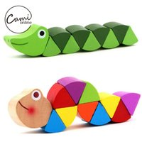 Wholesale Wooden Caterpillar - Wholesale- Baby New Wooden Toys Cute Transformable Crocodile Caterpillars Puzzles Fingers Flexible Training Intelligence Educational Toy