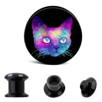 Wholesale Cat Body Piercing Wholesale - Colorful Cat black Screw Flesh Tunnel Ear plug Body jewelry With piercing Ear piercing plugs