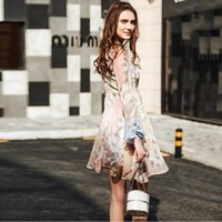 Casual Dresses Flora Printed Dresses Summer 2017 Spring Summer Long Sleeve Print Chiffon Women's Dress Lotus Sleeve Crew Neck A-Line Above Knee Floral Pink Colors Lady Look Slim Dress