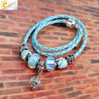 Wholesale Glass Cross Necklaces - CSJA Women Cross Tiara Crown Pendant Jewelry Handmade Knitted Blue Leather Charm Silver Faceted Glass Enamel Beads Fashion Necklace E712