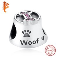 Wholesale Sterling Silver Bone - BELAWANG Luxury 925 Sterling Silver Paw Print Woof Animal Bone Beads Big Hole Beads Fit Original Pandora Bracelet for Women Jewelry Making