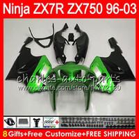 Wholesale 97 Kawasaki Zx7r - 8Gifts 23Colors For KAWASAKI NINJA ZX7R 96 97 98 99 00 01 02 03 18NO34 green black ZX750 ZX 7R ZX-7R 1996 1997 1998 2001 2002 2003 Fairing
