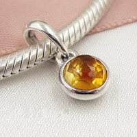 Wholesale Citrine Beads European - 2017 Spring 925 Sterling Silver November Droplet Dangle Charm Bead with Citrine Pendant Fits European Pandora Jewelry Bracelets
