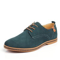 Wholesale blue suede dresses - Men Casual Shoes Suede Leathern breathable Flats Lace Up Oxfords Shoes New Low Social Chaussure Homme large Size cm