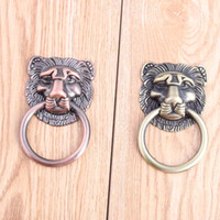 Wholesale Drawer Handle Copper - Chinese Retro Beast head furniture dro rings handles antique brass drawer cabinet pulls knobs antique copper dresser door handle