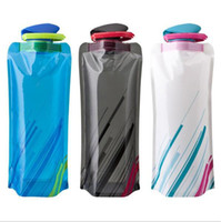 Wholesale Portable Pe Foldable Water Bottle - Portable Foldable Reuseable 700ml water bottle with Carabiner outdoor sports travel folding bags Cup Mug Eco-Friendly