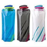 kupa carabiner toptan satış-Taşınabilir Katlanabilir Kullanımlık Carabiner ile 700 ml su şişesi açık spor seyahat katlanır çanta Fincan Kupa Çevre Dostu