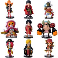 Wholesale One Piece Full Doll - Wholesale cartoon toy One Piece Hand To Do A Straw Hat Pirates Model Q Version Of One Piece Doll Full Collection Figures 9sets lot