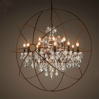 Wholesale Candle Modern Crystal Chandelier - Country Hardware Vintage Orb Crystal Chandelier Lighting RH Rustic Iron Candle Chandeliers Light Globe LED Pendant Lamp Home Decoration