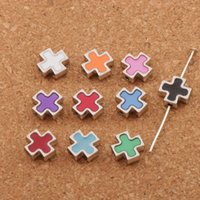 Wholesale Square Cross Charms - Enamel Square Knights Templar Cross Charm Beads Hot 200pcs lot 10Colors 10.38MM Jewelry DIY L1713