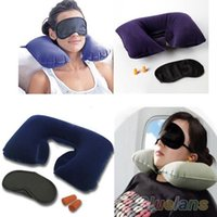 Wholesale Eyes Inflatables - Wholesale- Inflatable Travel Flight Pillow Neck U Rest Air Cushion+ Eye Mask+Earbuds