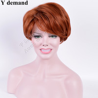 Wholesale Wigs Short Hair Red - Fashion New Straight Short Wine Red BOB Wig Simulation Brazilian Human Hair Full Wig For Black Women Y demand