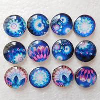 boutons bleus mélangés achat en gros de-20 pcs Mix Styles Gingembre Snap Bracelets De Charme Bleu Et Blanc Fleurs Arc En Ciel 18mm Verre Noosa Snap Buttons