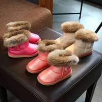 rosa rose baby schuhe großhandel-Freies Verschiffen 2017 neue Ankunft kurze Knöchel Schnee Stiefel Mädchen Winter Baby Kinder dicke warme Schuhe 5,5-12,5 weiß rosa Rose
