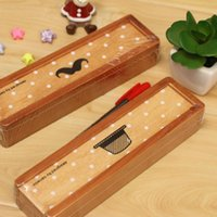 Wholesale Korea Pencil Case Wooden - Wholesale-1 Piece Korea stationery wholesale Square beard was still pumping wooden pencil case stationery SW-12120