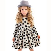 Wholesale cat clothing line for sale - 2017 girls new dress European and American children s clothing black cat pattern printing stretch tight skirt can be customized