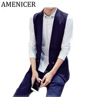 Wholesale Mens Costume Sale - Wholesale- Hot Sale 2016 Mens Vests Korean Turn-down Collar Solid Slim Fit Casual Fashion Sleeveless Vest For Men Gilet Costume Homme