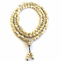 Wholesale Tibetan Buddhist Pendants - 8mm White stone beads 108 Skull Beads Tibetan Buddhist Prayer Rosary Meditation Mala for women men jewelry