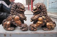 Wholesale Bronze Foo Dogs - Chinese classical Bronze Copper Evil Guardian Door Bei Jing Fu Foo Dog Lion Pair